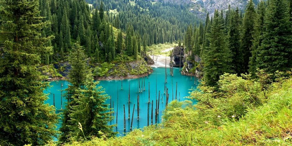 Lac Kaindy dans le Tien-Shan
