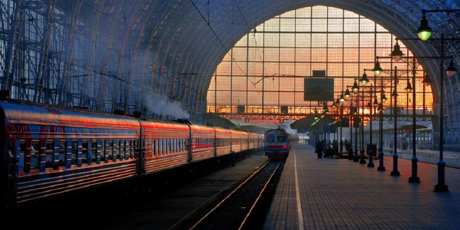 Gare de Moscou au coucher