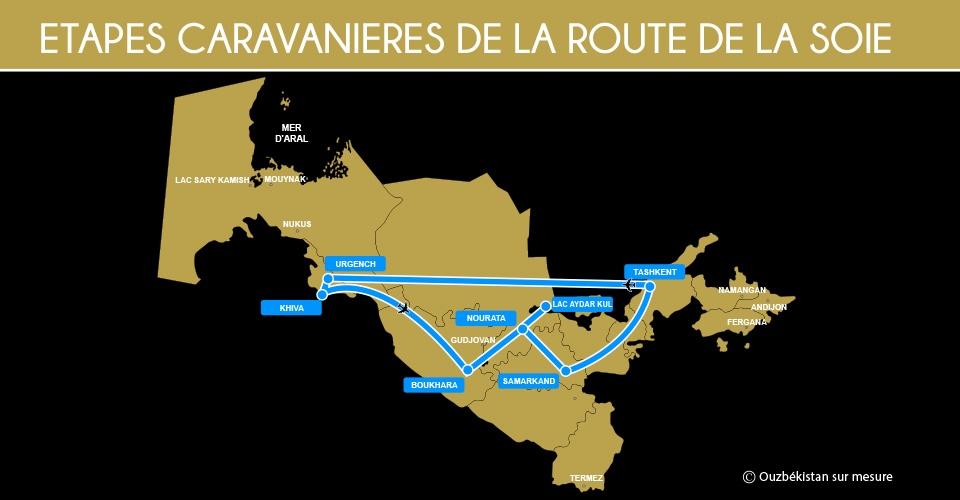 Carte Etapes Caravanières Ouzbékistan